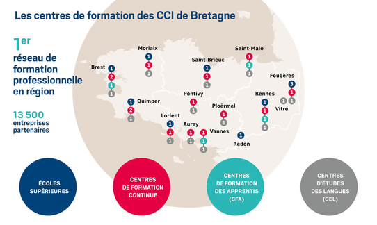 Carte des centres de formation des CCI de Bretagne